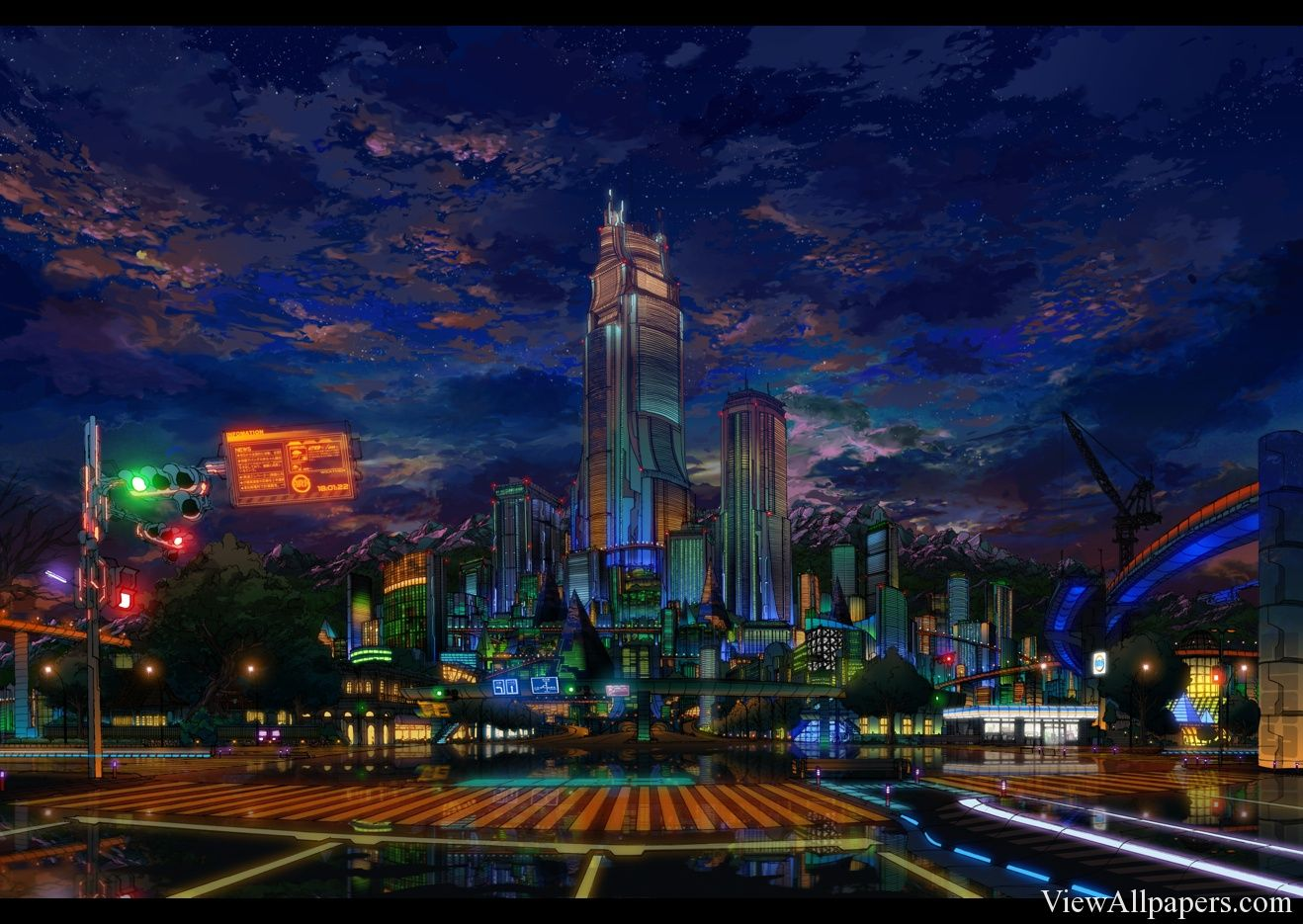 Anime City Night Wallpaper | Wallpaper | Anime city, City ...