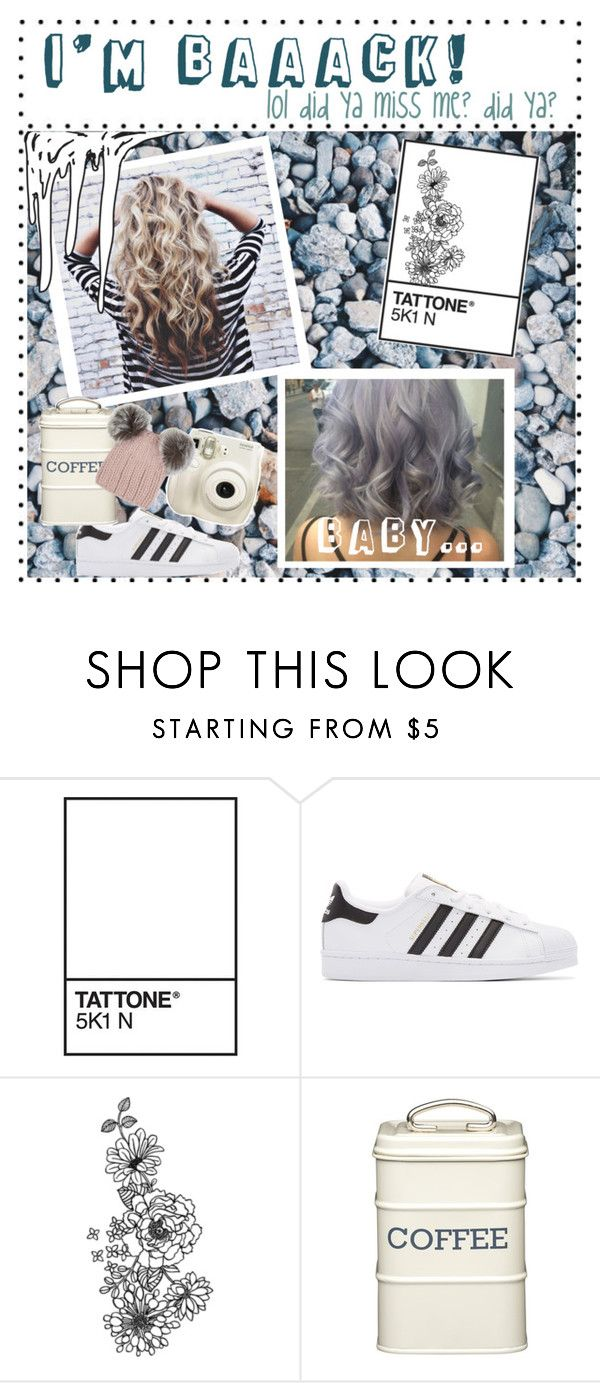 """""""I'm Back!"""" by ilovemypup-1 ❤ liked on Polyvore featuring adidas Originals, Fujifilm, Kitchen Craft and Eugenia Kim"""