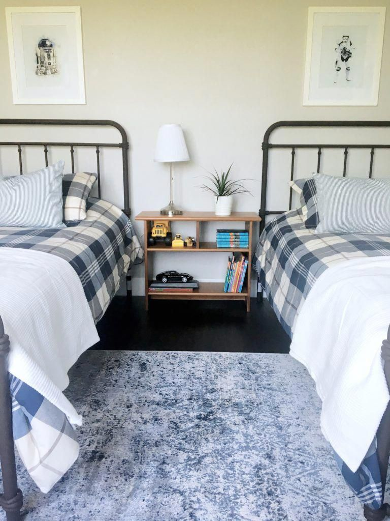 farmhouse style matching metal twin beds and vintage inspired rug rh pinterest com
