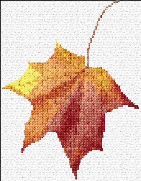 Maple Leaf Free Cross Stitch Pattern