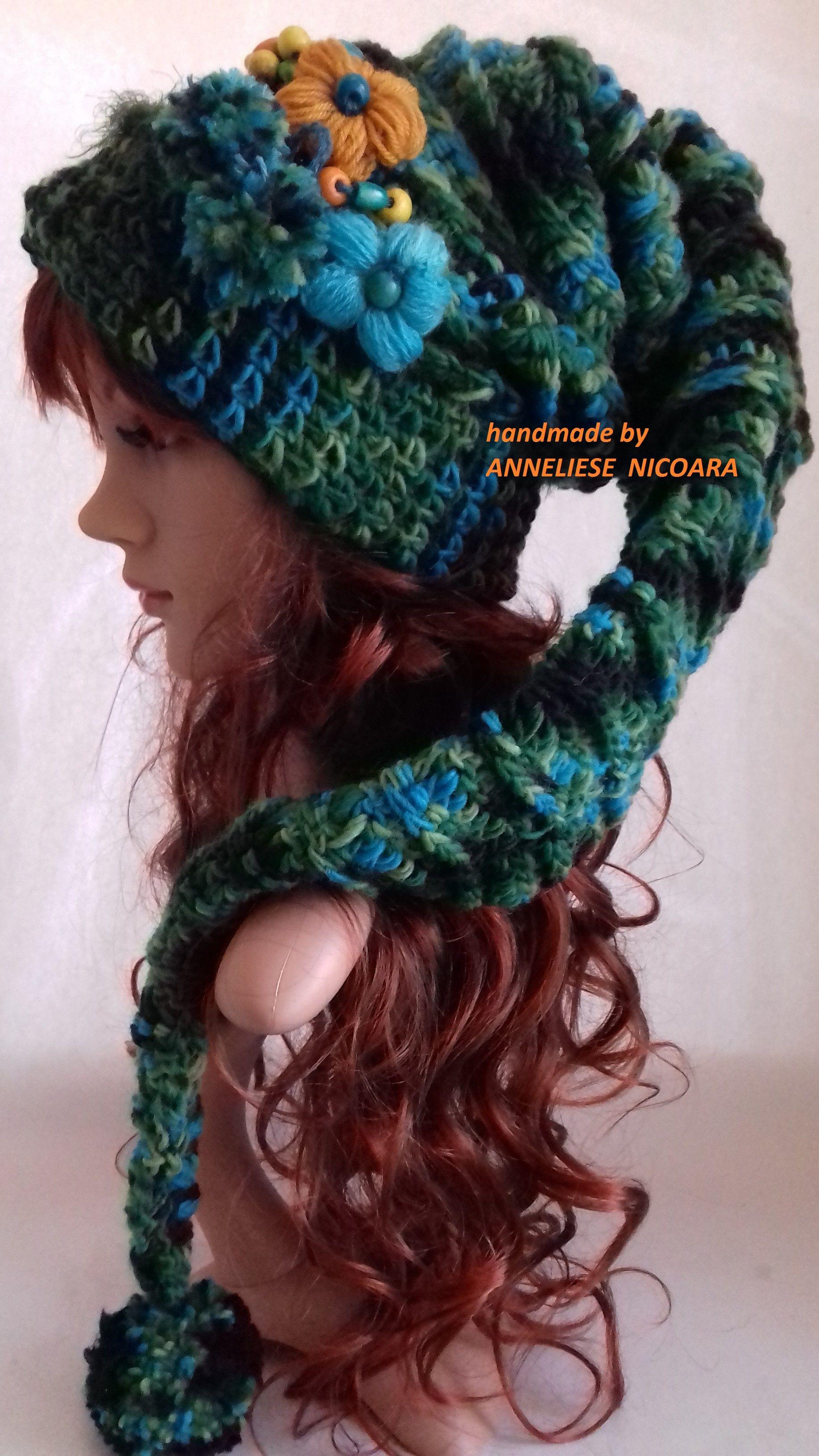 Pixie Hat  Crochet long tail Hat Fairytales Hat  ace24196cf0