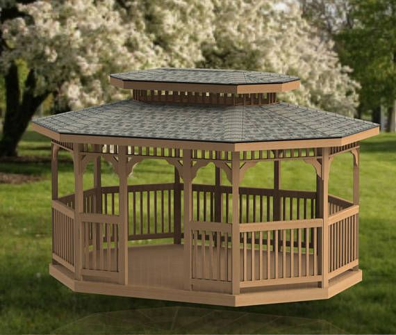 Oval Garden Gazebo Building Plans Double Hip Roof 12 X 16 Etsy Outdoor Pergola Gazebo Plans Pergola Plans