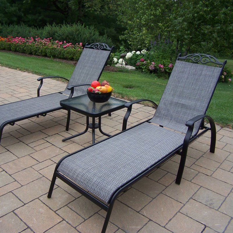 outdoor oakland living cascade sling 3 piece chaise lounge set rh pinterest com