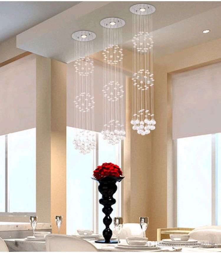 Modern crystal chandeliers ceiling crystal pendant lamp for Dining room chandeliers modern