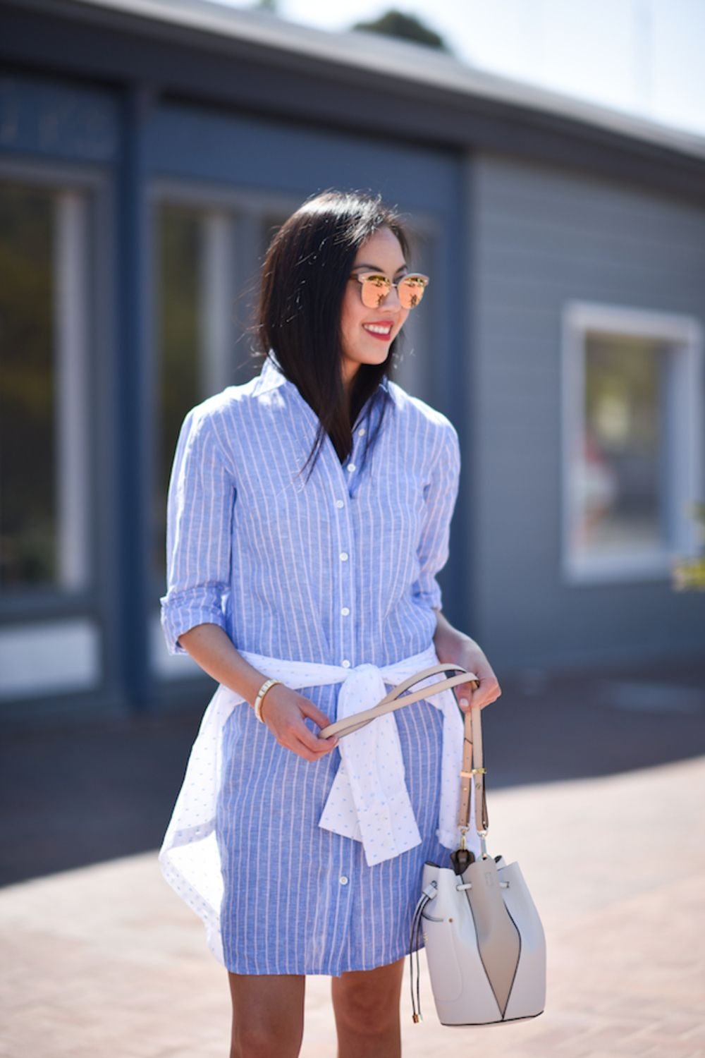 This Summer Staple Can Be Worn To The Office And Beyond Shirt Dress Street Style Street Style Dress Shirt Dress Summer [ 1500 x 1000 Pixel ]