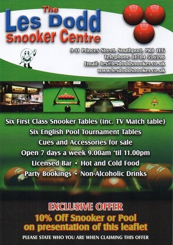 Les Dodd Snooker Centre Exclusive Offer www.lesdoddsnooker.co.uk
