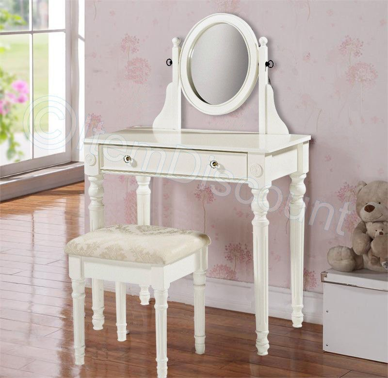 Victorian White Wood Vanity Makeup Table Set
