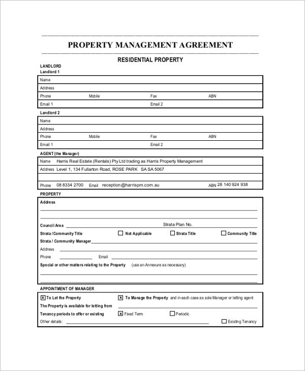sample property management agreement documents pdf word template - property management agreements