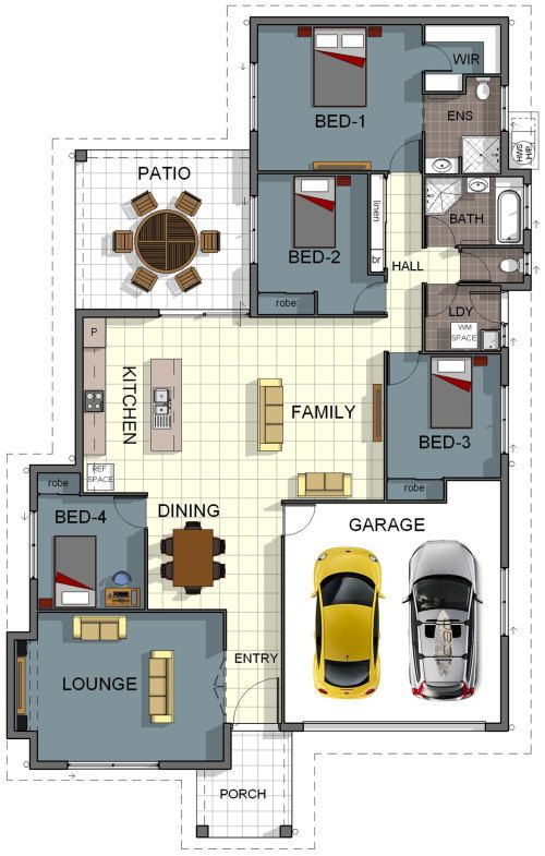 Floor plan house design 4 bedroom 2 bathroom double for House plans with laundry room attached to master bedroom