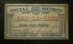 Elvis Presley S Social Security Card Elvis Presley Elvis Elvis Death