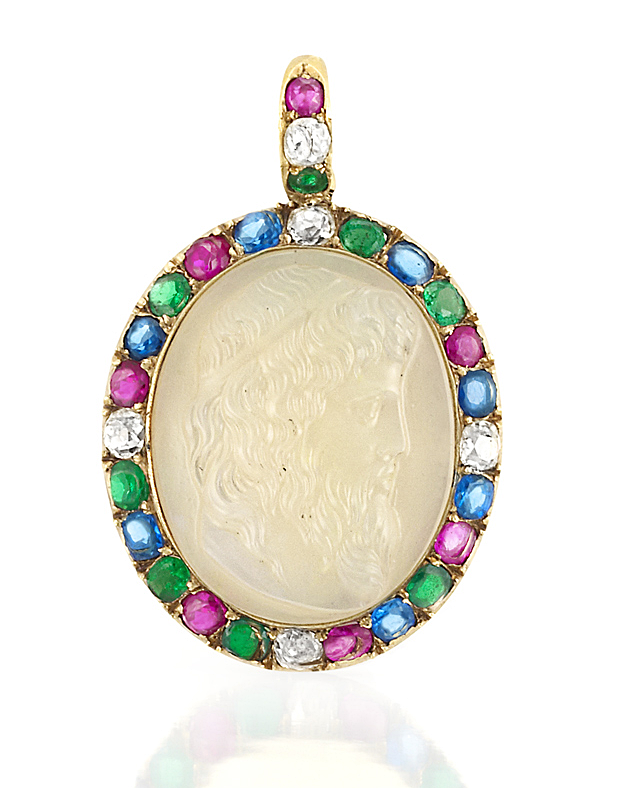 Antique Gold, Opal Cameo, Gem-Set and Diamond Pendant Centering one oval opal cameo depicting a bearded man in profile, approximately 25.2 x 21.0 mm., framed by 21 cushion-shaped emeralds, sapphires and rubies, spaced by 5 old-mine cut diamonds approximately .65 ct. Victorian or Victorian style