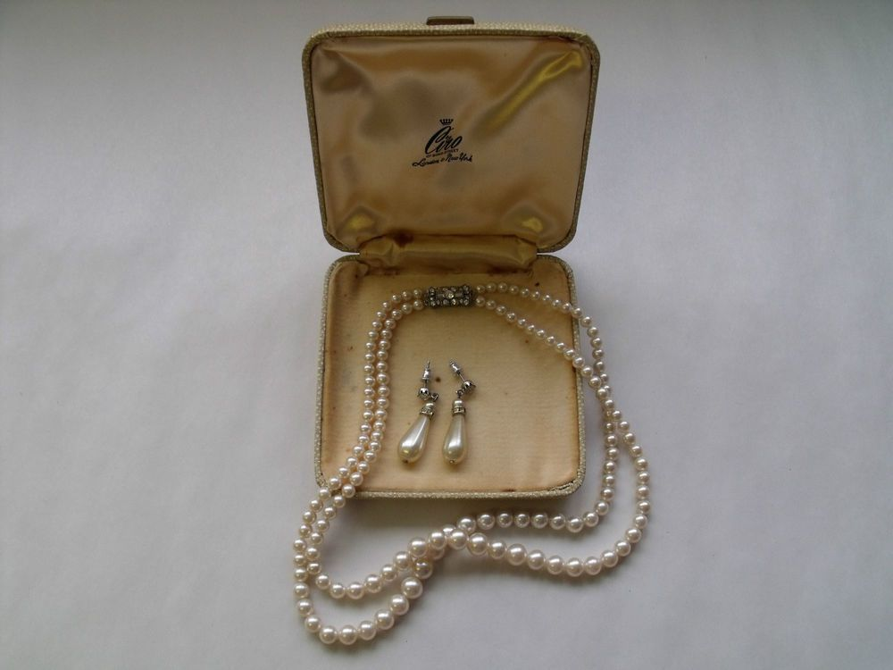 CIRO 16'' 2 ROW FAUX PEARL SILVER NECKLACE EARRING SET, C1930'S, ORIGINAL BOX #CIRO #NECKLACEEARRINGSETP