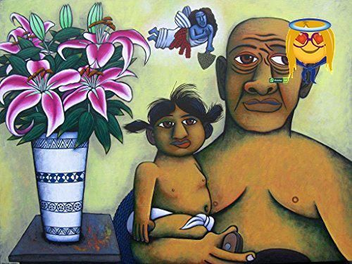 #art In #this image I wanted something incongruous. The time worn face of the grandfather, the bush knife showing #hard, basic life and the child and the flowers ...