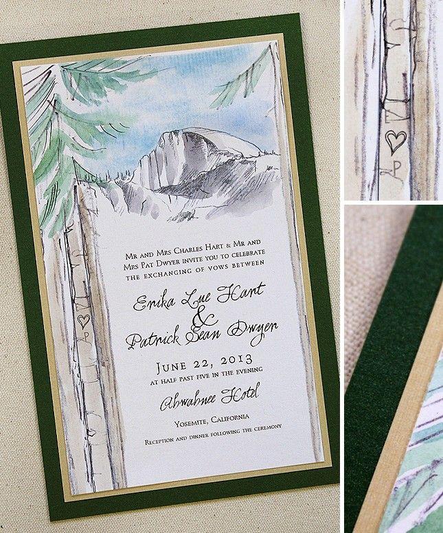 Watercolor Yosemite Pine Tree Wedding Invitations Watercolor