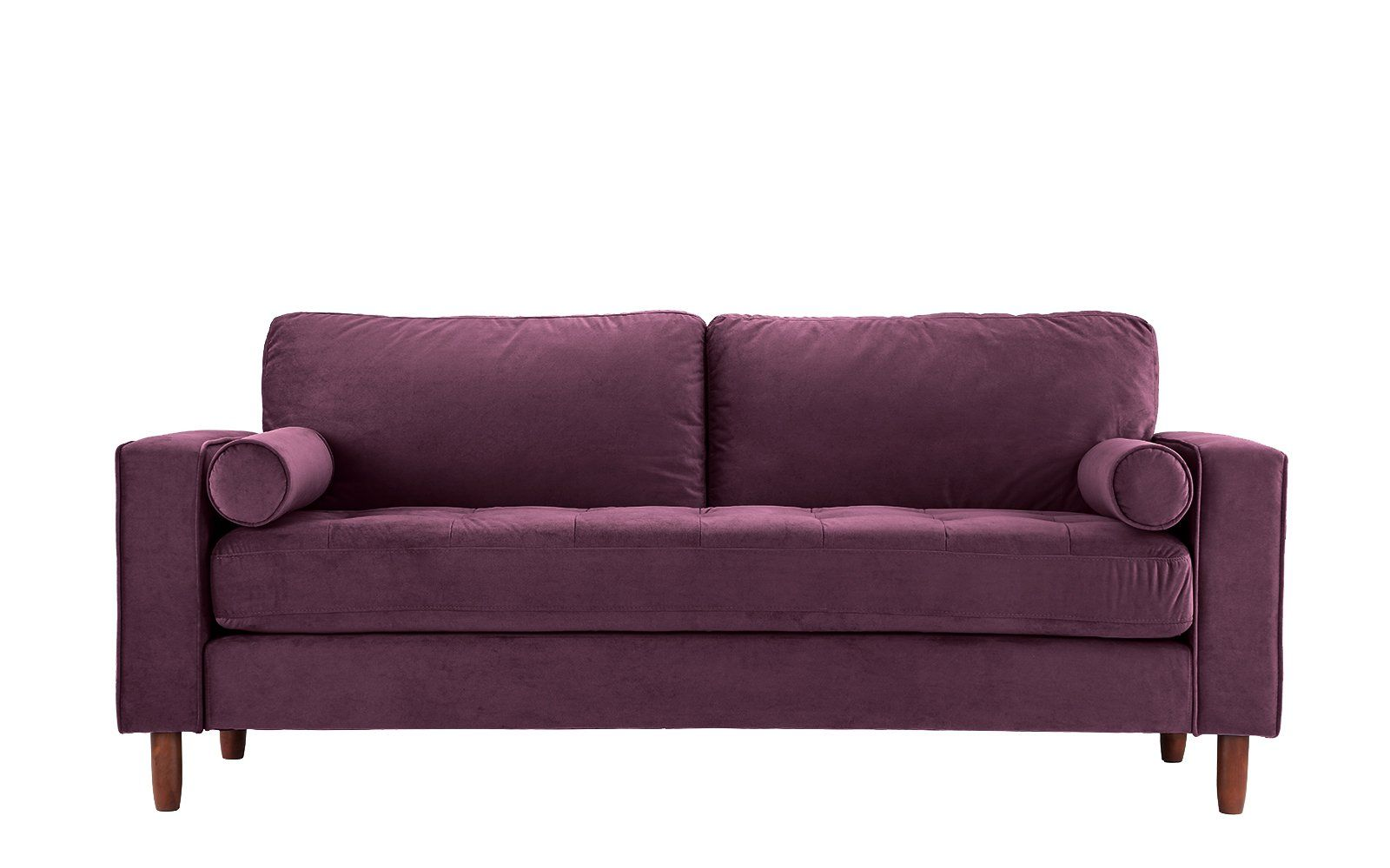 ember tufted velvet sofa with bolster pillows products pinterest rh pinterest com