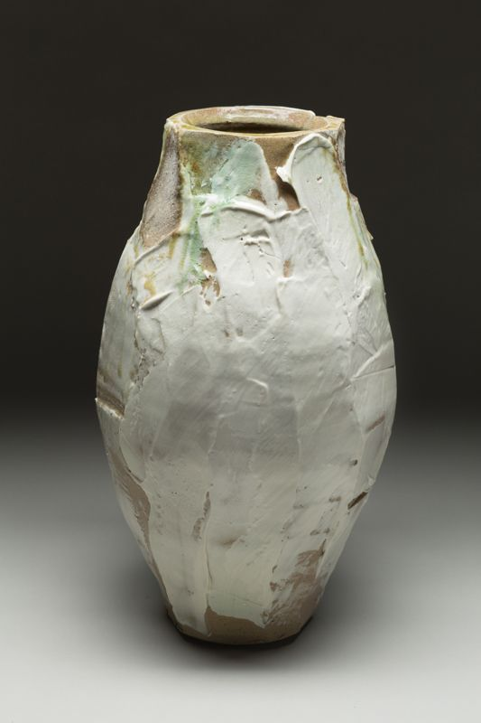 Thick slipped vase. 17.5 x 9 inches, once fired to cone 10. Craig Easter