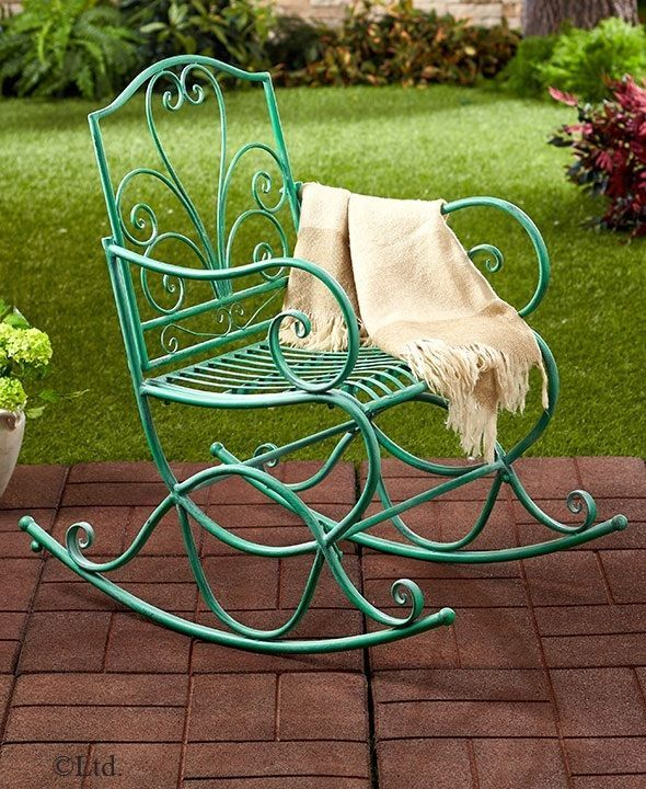 outdoor iron rockers rocking chairs choose color rust or antique rh pinterest com