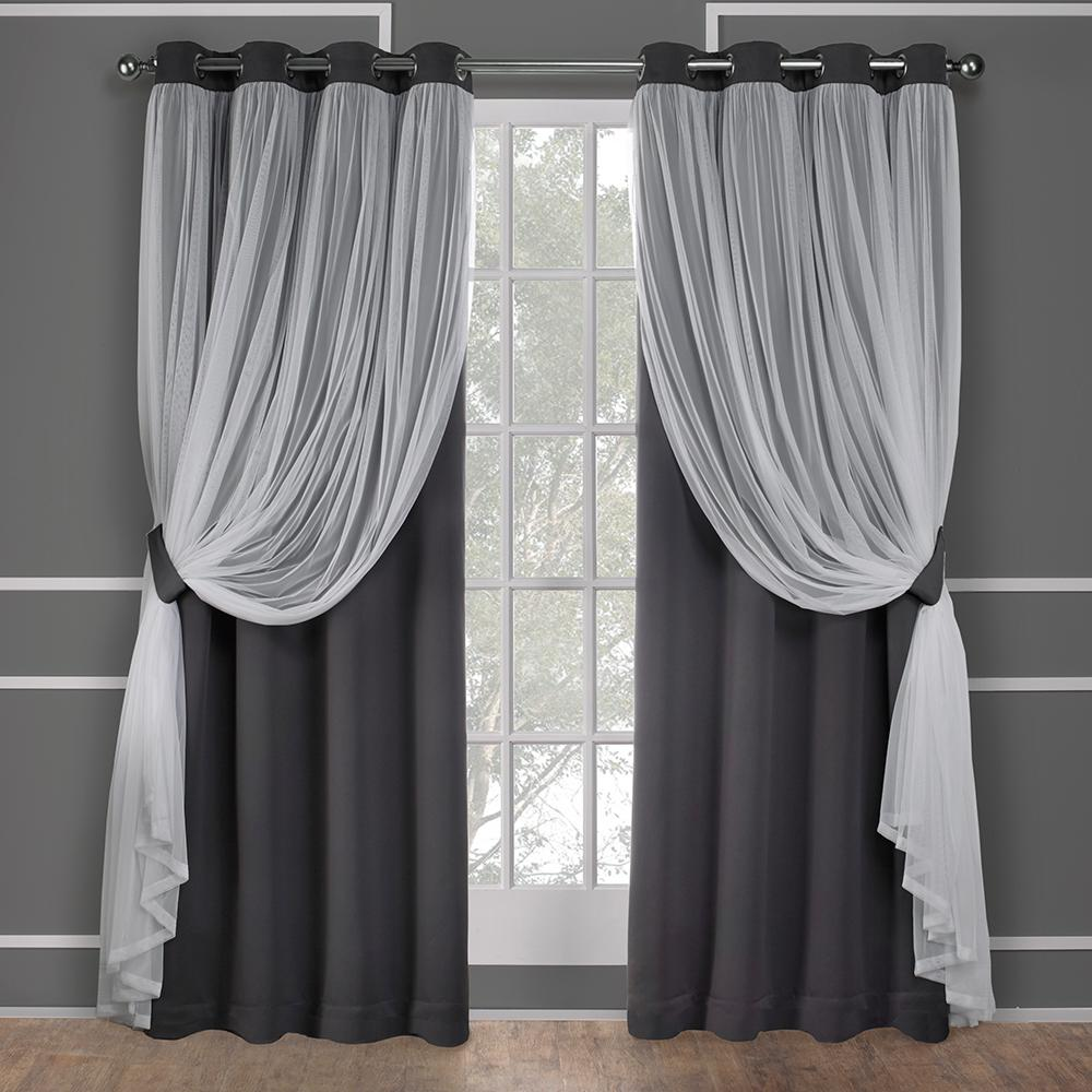 Amalgamated Textiles Catarina Layered Curtains Home Curtains Black Sheer Curtains