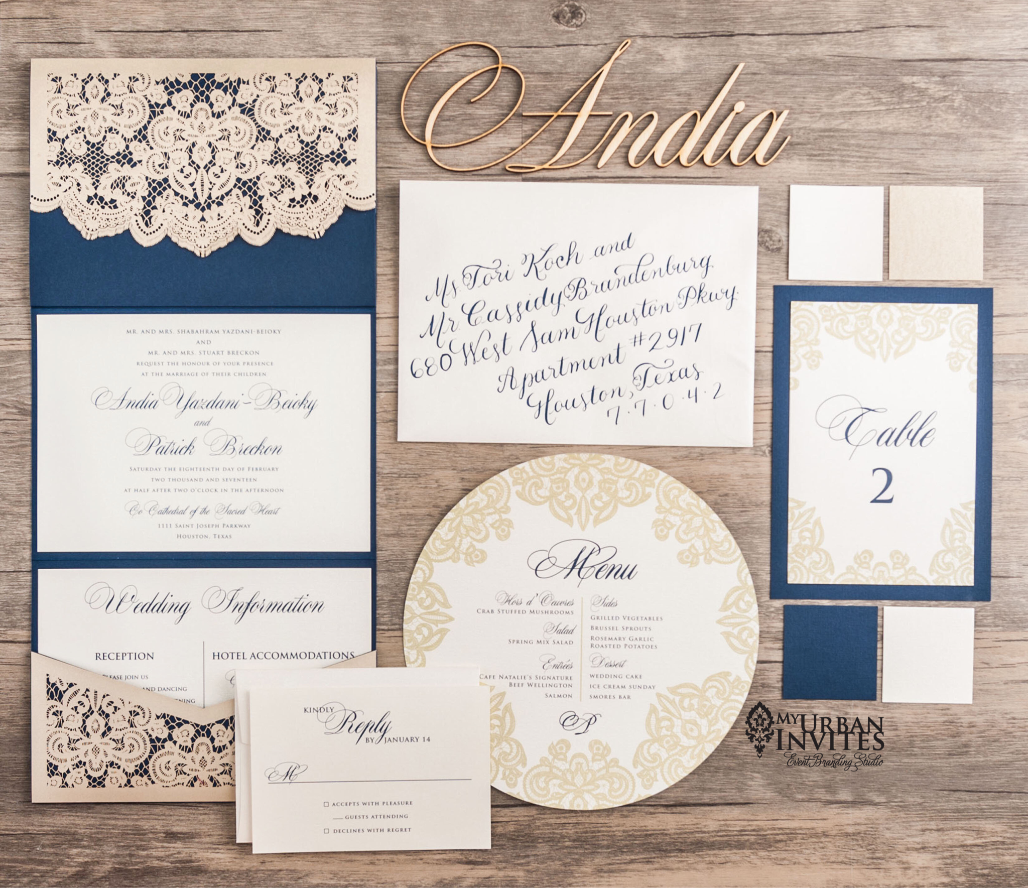 Weddings Lace laser cut navy and beige