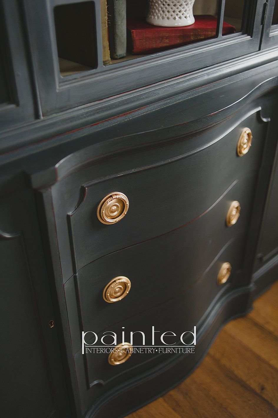 Antique china cabinet painted in Annie Sloan Graphite and French Linen with  brass hardware - China Cabinet Painted With Annie Sloan Chalk Paint In Graphite And