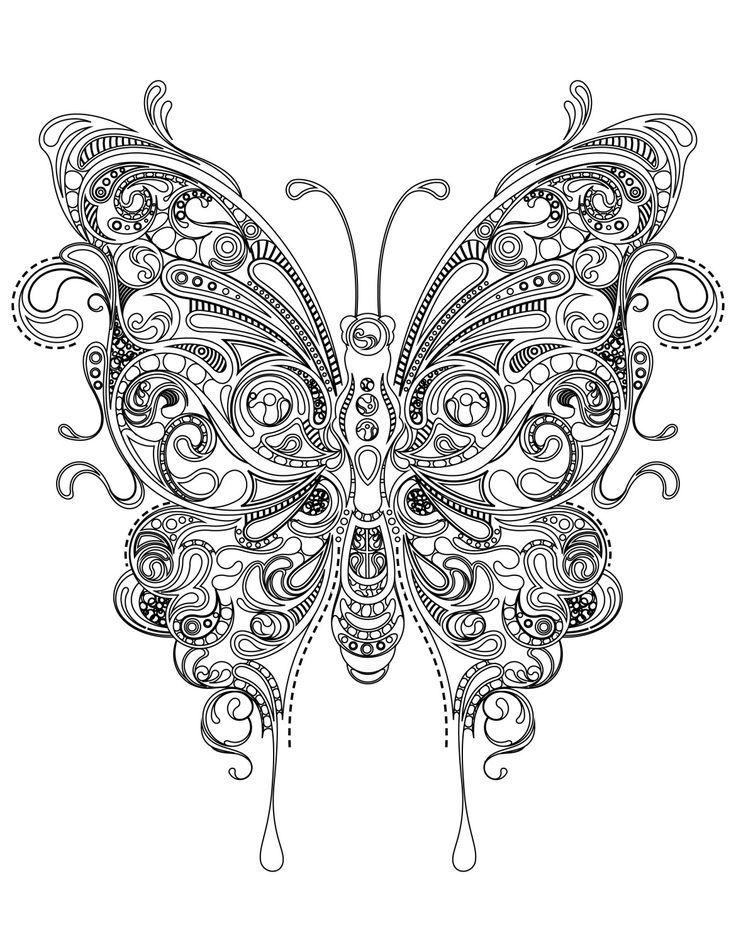 Coloriage Papillon Tres Difficile A Imprimer Malvorlagen Mal