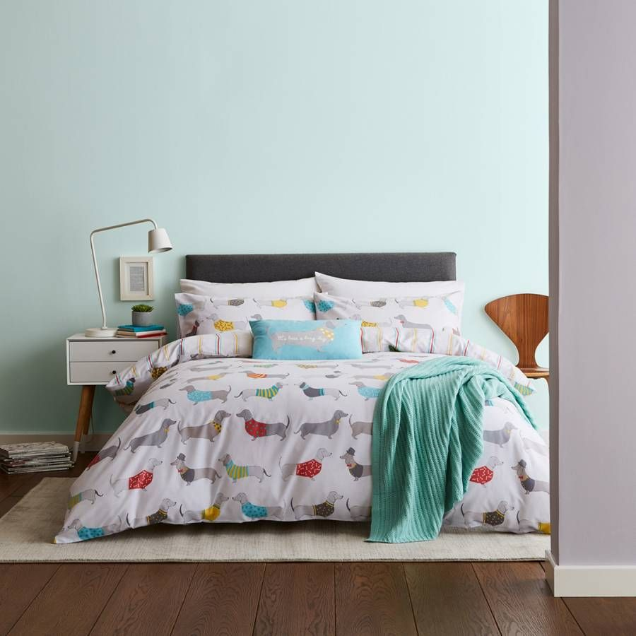 Dachshund Sausage Dog Reversible Duvet Cover with Pillowcases Bedding Set