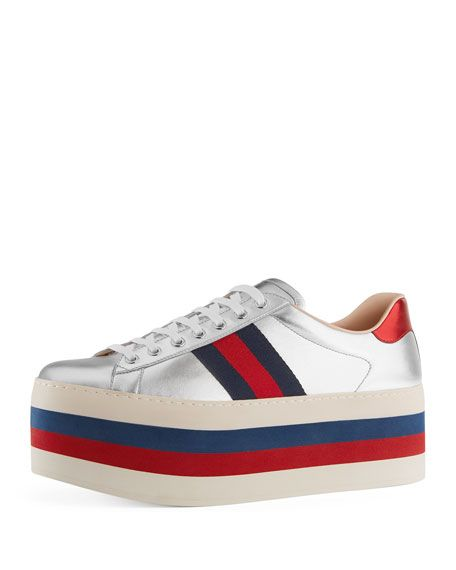 a8544a18795c GUCCI New Ace Leather Low-Top Platform Sneaker