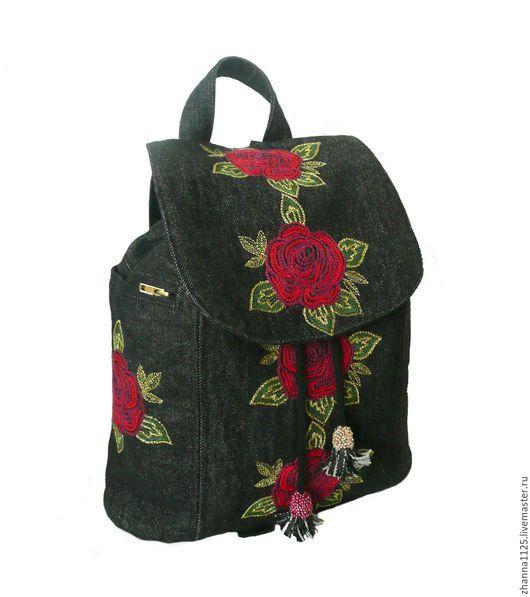 b074bc397a2a Джинсовый рюкзак `Алые розы` с вышивкой. Модный рюкзак. Рюкзак женский,  джинсовый
