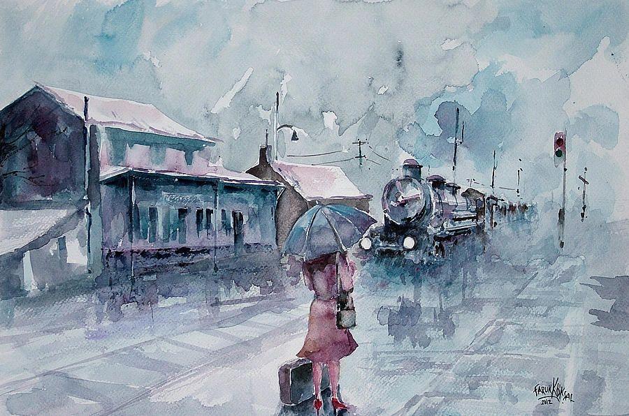 Nostalgic Journey Watercolor Aquarell Painting By Faruk Koksal