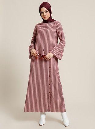 Triko Elbise Lacivert Kirmizi Elbise Kiyafet Islami Giyim