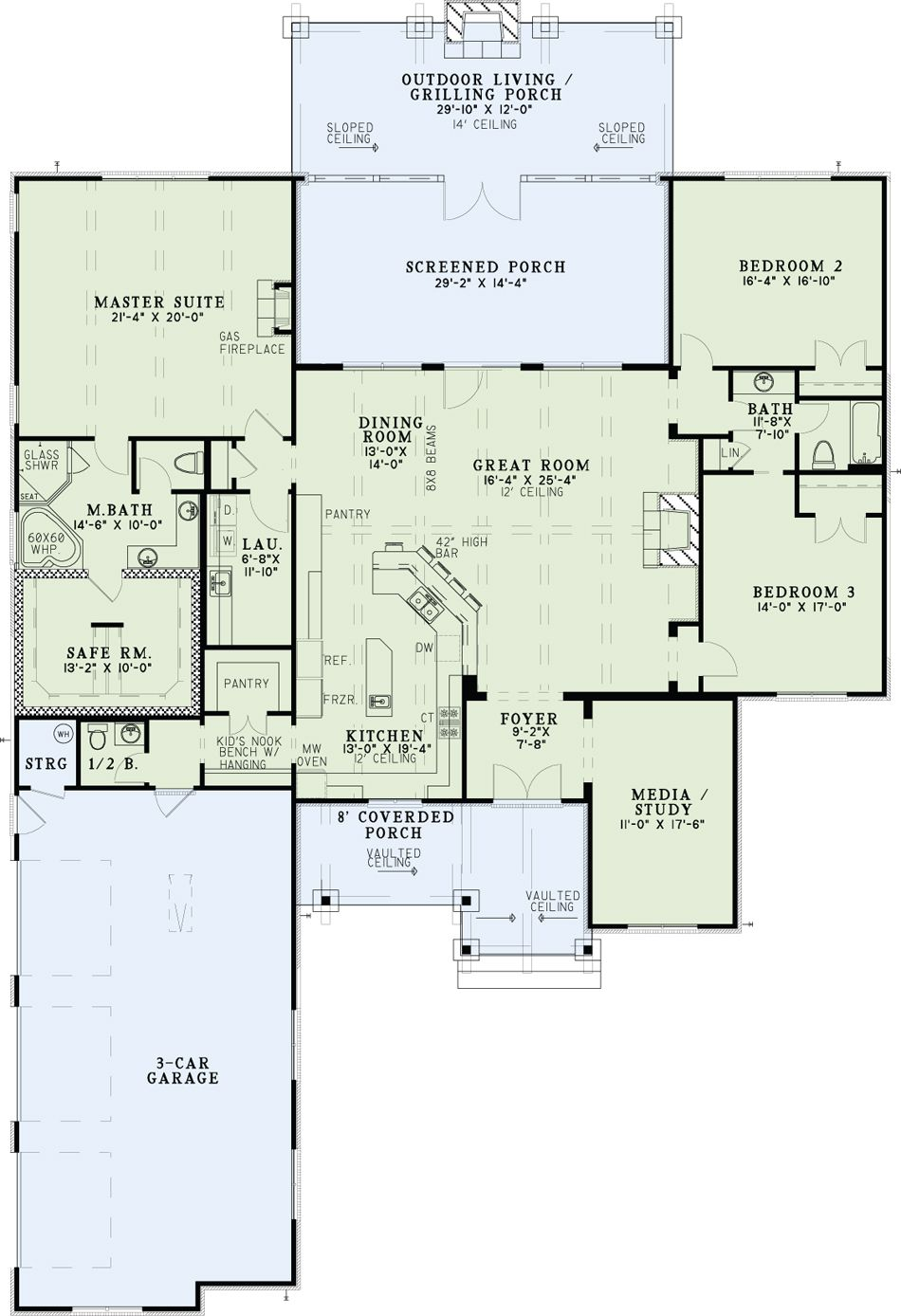 Rustic Style House Plan 3 Bedrms 2 5 Baths 2879 Sq Ft 153 2032 Mountain House Plans Country Style House Plans House Plans One Story