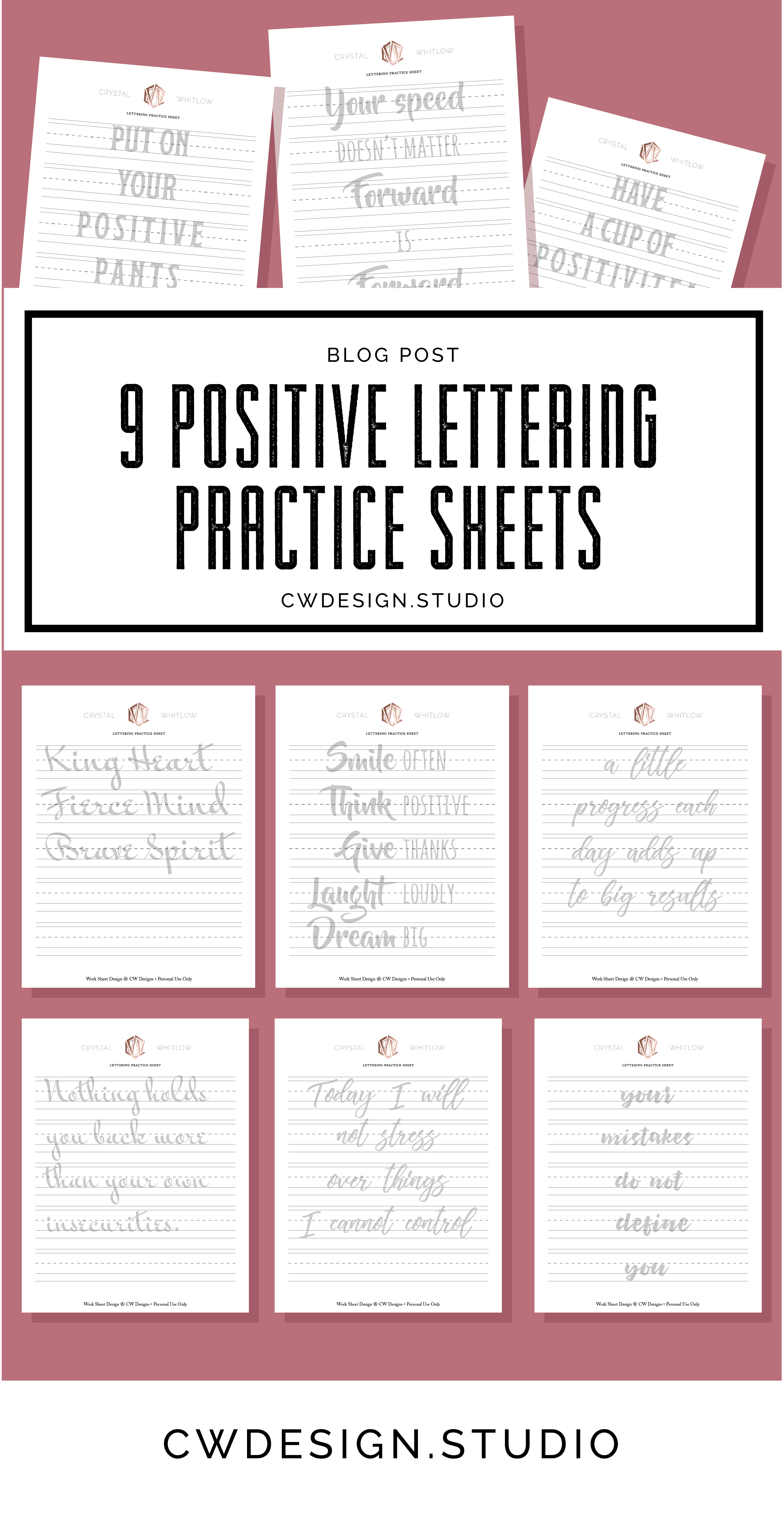 9 Positive Lettering Practice Sheets
