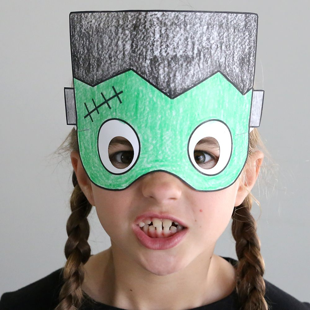 Halloween masks to print and color Halloween crafts for
