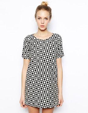 River Island Chelsea Girl Checkerboard T-Shirt Dress
