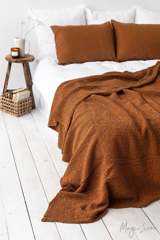 Waffle Linen Blanket In Cinnamon Linen Throw Blanket Linen