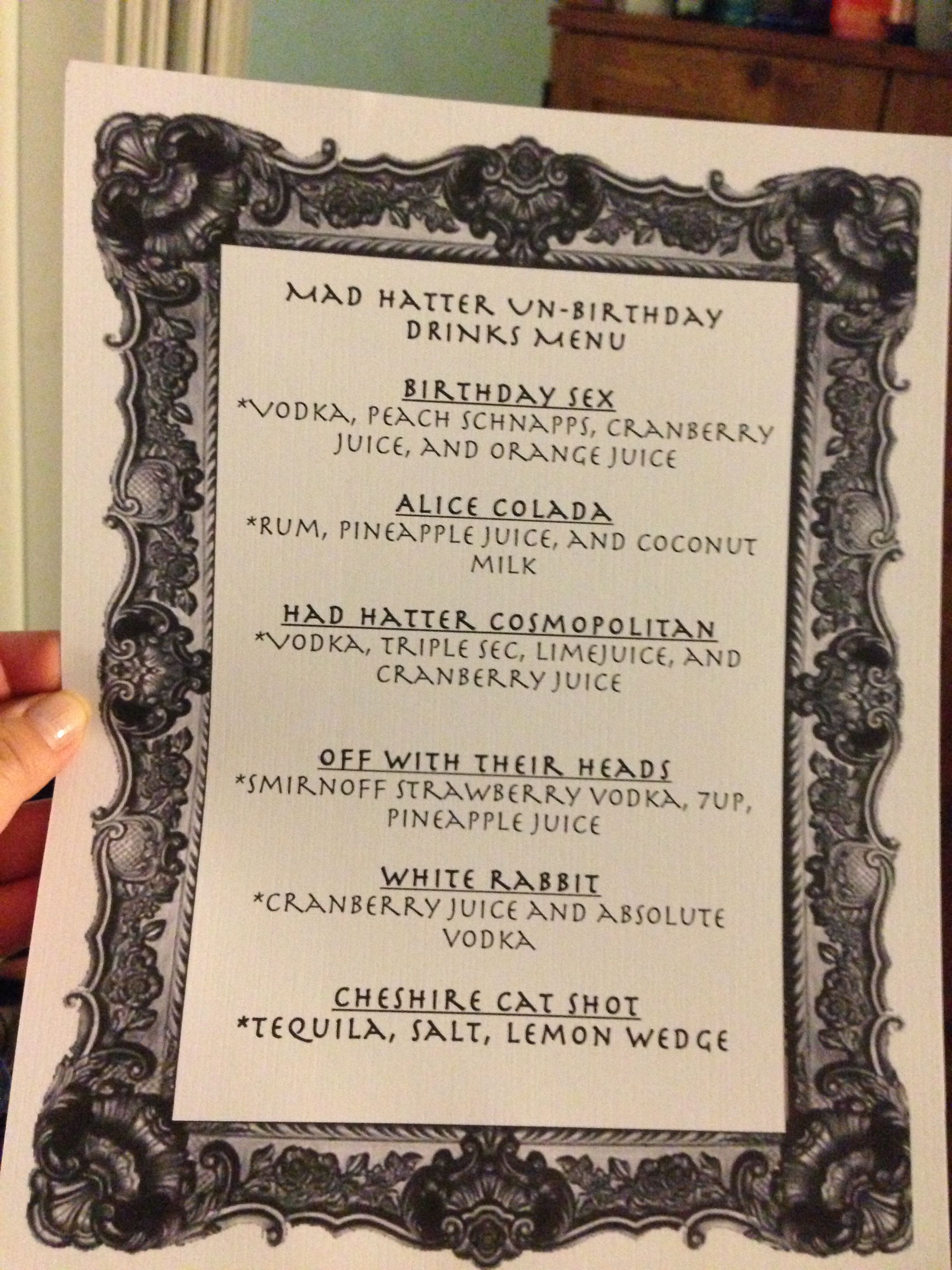 Drinks Menu Alice In Wonderland Themed or for The Food Menu I