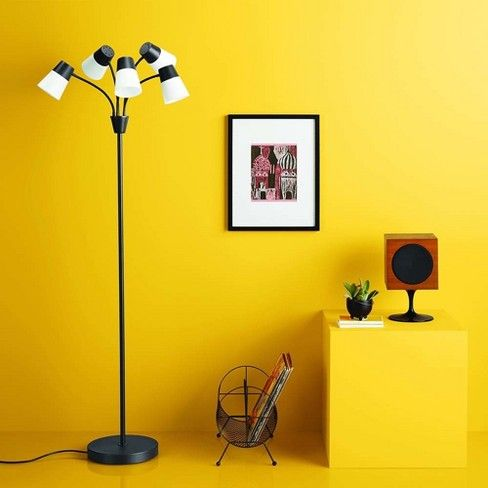 led adjustable 5 head floor lamp black white room essentials in rh pinterest com