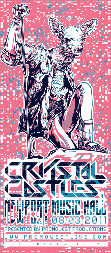 Crystal Castles 2011 gig poster by Miles Tsang for PromoWest ...