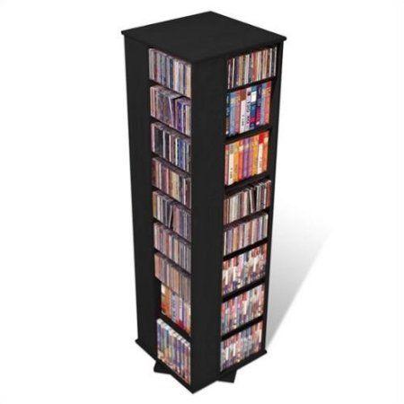 prepac 64 4 sided cd dvd spinning media storage tower in black cd rh pinterest com