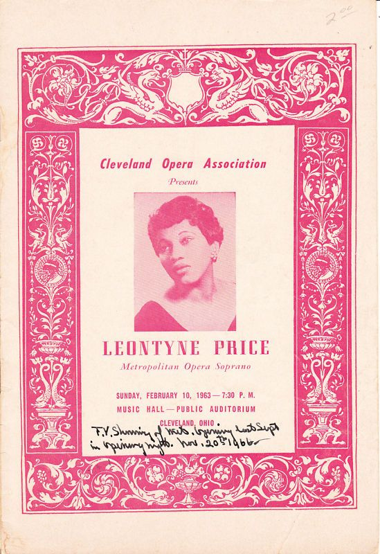 Leontyne Price, Program Cleveland Opera Association, 1963
