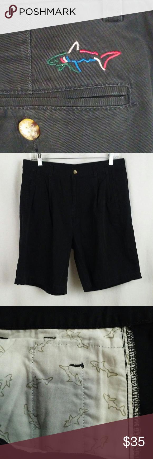 Greg Norman Shorts 34x9 Black Pleats Shark Logo Clothes Design Pleats Fashion Design