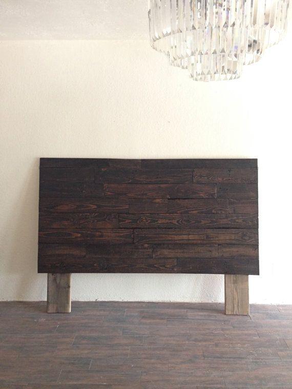 Reclaimed recycled wood dark espresso headboard head board king ...