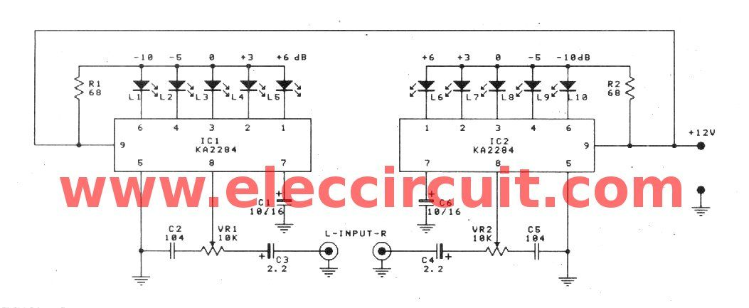 ka2284 stereo audio vu meter circuit with pcb rh pinterest com