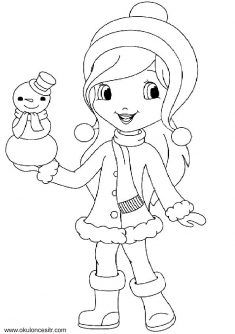 Kış Mevsimi Kız Boyama Sayfası Pano Pinterest Learning