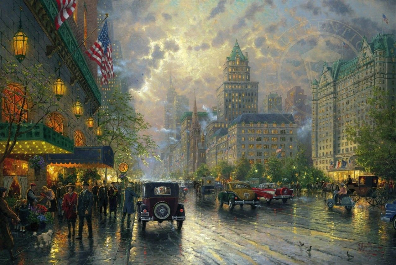 Обои street, winter, thomas kinkade, painting, 1932, snow, new york, snow on seventh avenue. Города foto 9