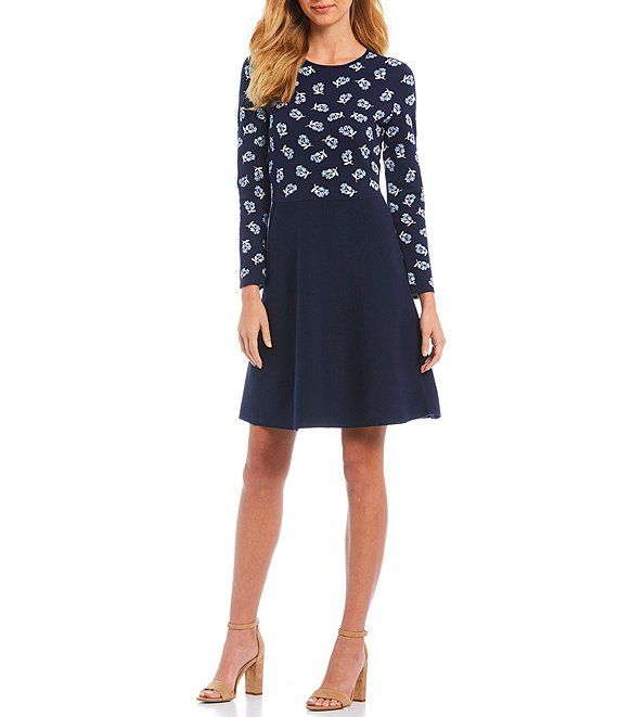 Draper James A-Line Floral Print Long Sleeve Sweater Dress #sweaterdressoutfit