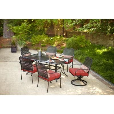 hampton bay fall river 7 piece patio dining set with dragon fruit rh pinterest com