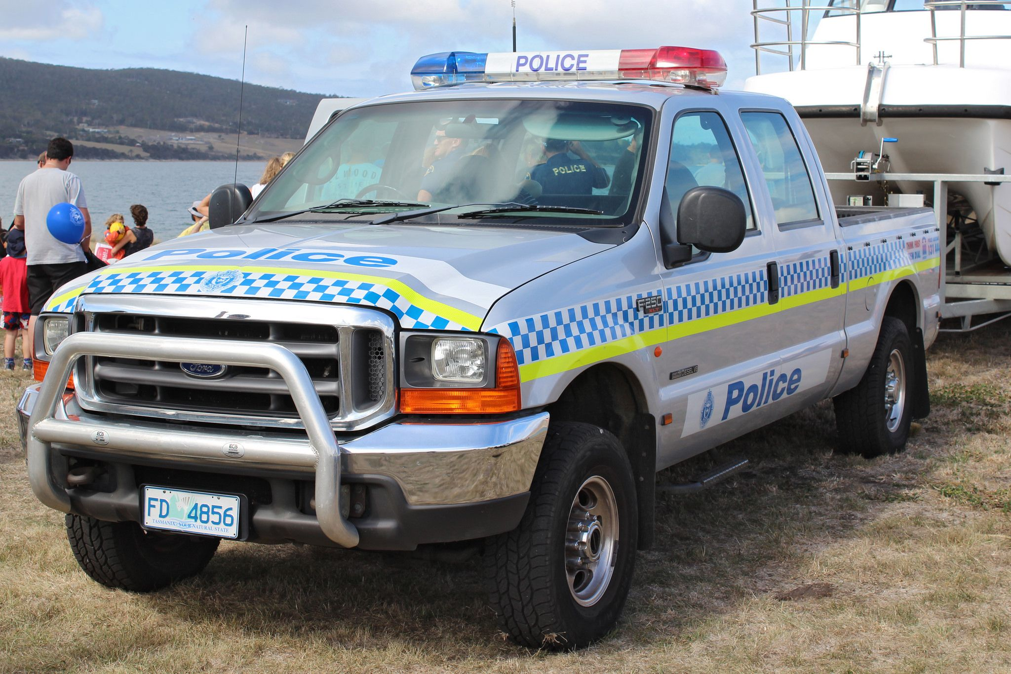 Https flic kr p ew51nw tasmania police ford f 250 marine unit rare this truck is used for towing the police catamaran feel free to check out my