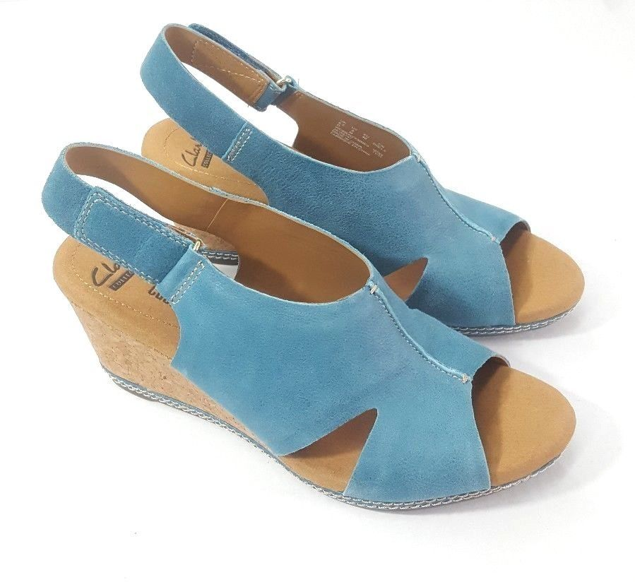 e78431f20 Clarks Women s Shoes Size 9 US Helio Float4 Blue Suede Wedge Sandal Cork  Heel   60.99 End Date  Friday Sep-28-2018 9 15 38 PDT Buy It Now…