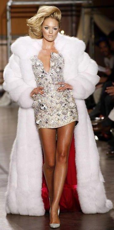 long white fox fur coat